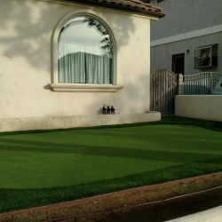 Image of turf putting green alongside a house