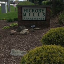 Brick sign for Hickory Mills Apartments - Kent's Best Apartments