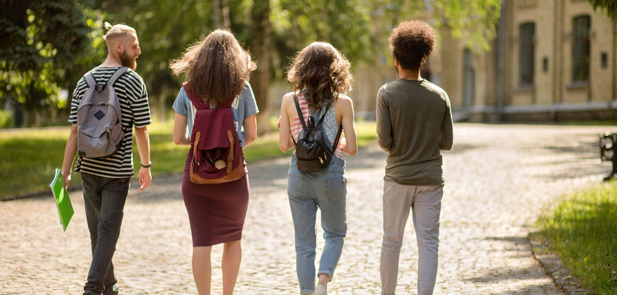Four Students walking to class