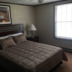Large bedroom with window and queen bed - Kent's Best Apartments