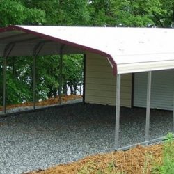 Standard Metal Carport with Attached Storage Shed