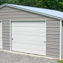 Enclosed Metal Garage with Window, Double Rolling Garage Door, and Walk-Thru Door