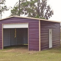 Enclosed Metal Garage with Rolling Garage Door, Walk-Thru Door, and Double Lean-To