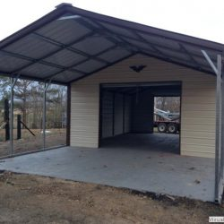 Enclosed Metal Garage with Double Rolling Garage Door