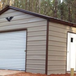 Enclosed Metal Garage with Rolling Garage Door and Walk-thru Door