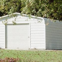 Enclosed Metal Garage with Rolling Garage Door