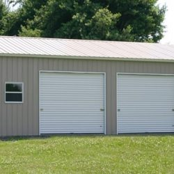 Enclosed Metal Garage with Windows, Triple Rolling Garage Door, and Walk-Thru Door