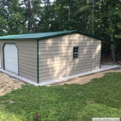 Enclosed Metal Garage with Rolling Garage Door and Window