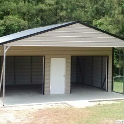 Enclosed Metal Garage with Double Rolling Garage Doors and Walk-Thru Door