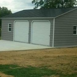 Enclosed Metal Garage with Double Rolling Garage Doors and Windows
