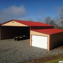 Metal Horse Barn with Double Enclosed Garage