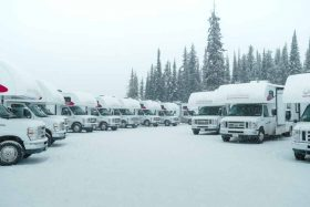RVs in snow