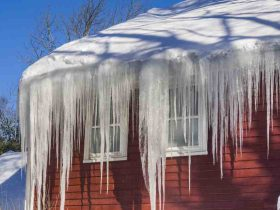 Icicles on roof of house