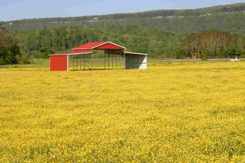 Red metal barn in field