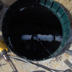 Image looking inside of septic tank