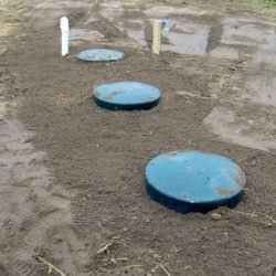Finished septic tank installation before beautification