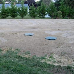 Land view of gravity septic system