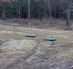 Distant shot of completed gravity septic system