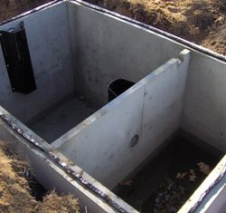 Inside seam of a top seam septic tank before installation