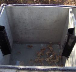 Image of newer style baffle in a particular septic tank