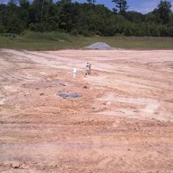 Finished grade of slope at the end of a worksite