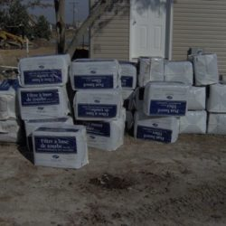 Pile of boxes in front of building