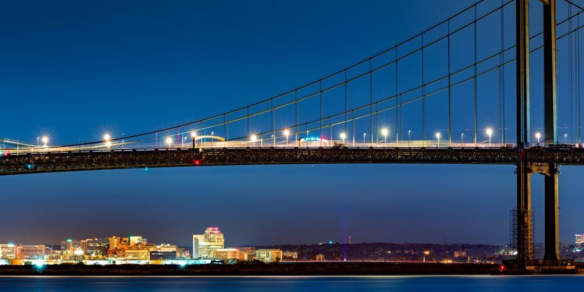 Image of suspended bridge over Delaware water
