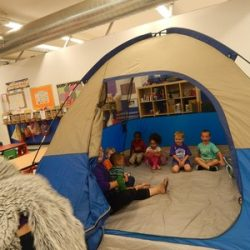 Kids playing in a tent at our daycare - Wonder Years Learning Center