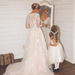 Image of Mother and Daughter in Wedding Attire