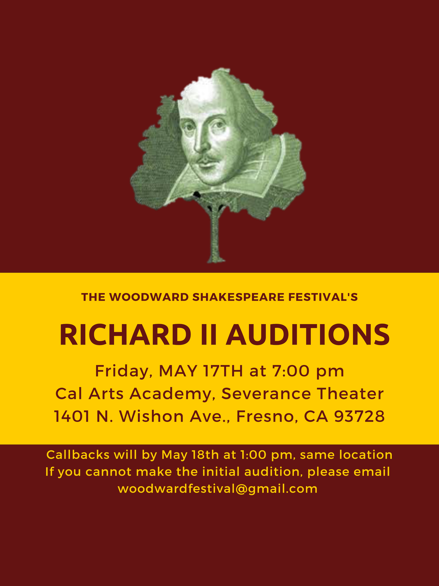 Richard II Auditions_Woodward Shakespeare Festival