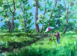 My oil painting of a fellow plein air artist.