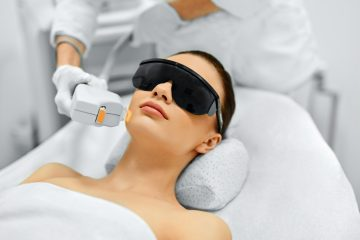 woman receiving med spa service for acne scars