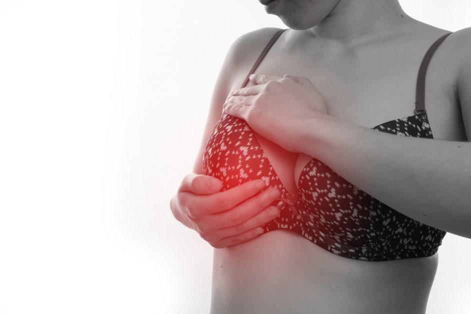 young woman in sexy bras touching Breast on isolated white background , concept breast augmentation