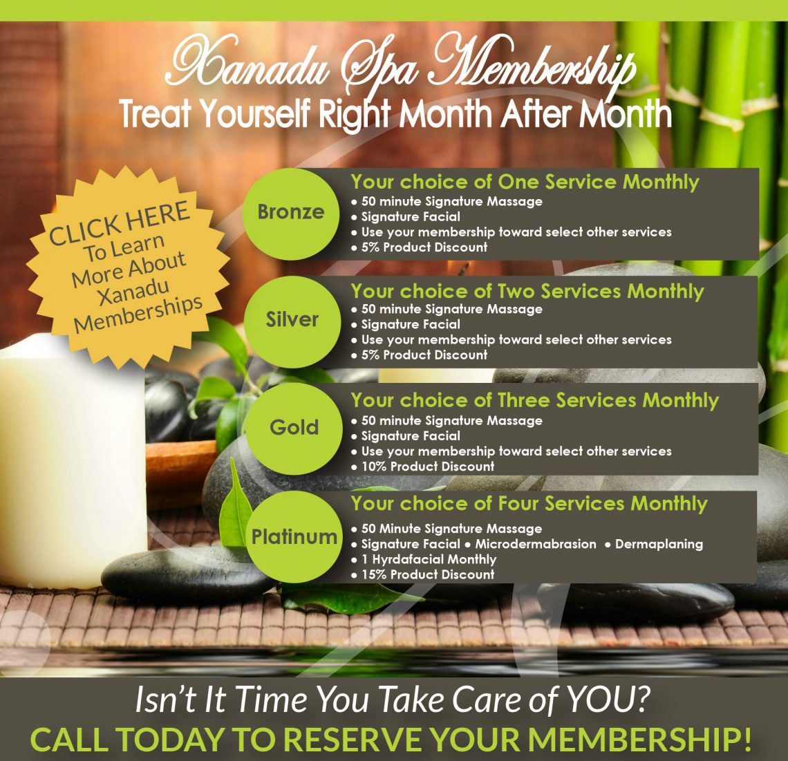 Membership options at Xanadu Med Spa