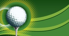 Image of Golf Ball Tee and Green Backgrounds