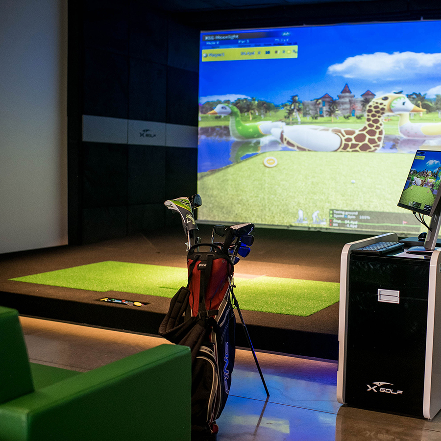 View of one of our golf simulators at XGolf Fort Collins.