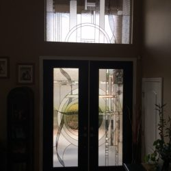Modern decorative glass door with transom