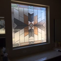 Custom glass design in a bathroom - Your Door Our Glass