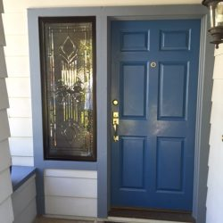 Blue door with decorative glass sidelight - Your Door Our Glass