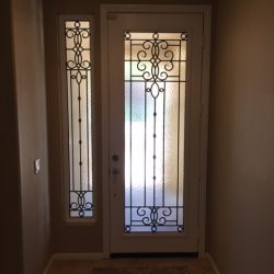Tall decorative glass door with transom - Your Door Our Glass