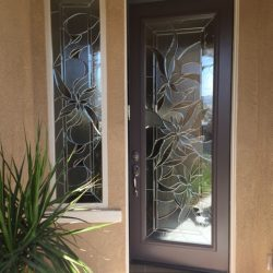 Floral decorative glass door and sidelight - Your Door Our Glass