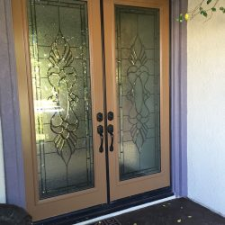 Wooden double door with Chelsea door glass