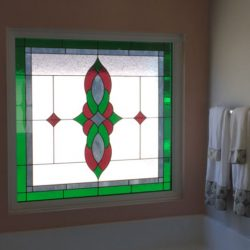 Custom stained glass window in a bathroom - Your Door Our Glass