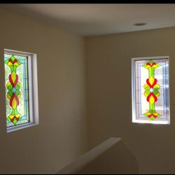 Two stained glass windows in a hallway - Your Door Our Glass