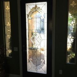 Door with full glass door design and two 3/4 transoms - Your Door Our Glass