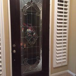 Dark wood door with frosted and clear glass door design - Your Door Our Glass