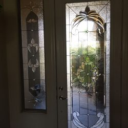A full decorative glass door and a 3/4 transom - Your Door Our Glass