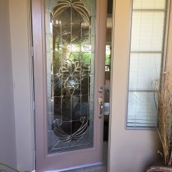 A decorative glass door with clear and frosted glass - Your Door Our Glass