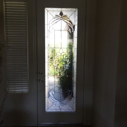 White door with decorative glass design and frosted glass - Your Door Our Glass