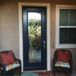 Narrow decorative glass door with both frosted and clear glass - Your Door Our Glass